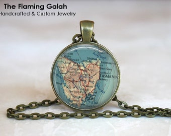 TASMANIA Map Pendant • Vintage Tasmania Map • Tassie Map • Hobart • Launceston • Gift Under 20 • Made in Australia (P1176)