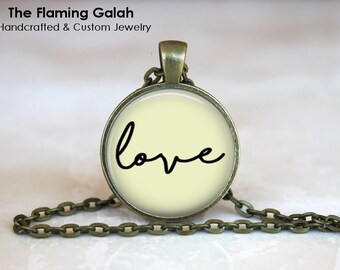LOVE Pendant •  Sweetheart •  Loved One • Valentines • Girlfriend • Boyfriend • Word Jewellery • Gift Under 20 • Made in Australia (P1274)