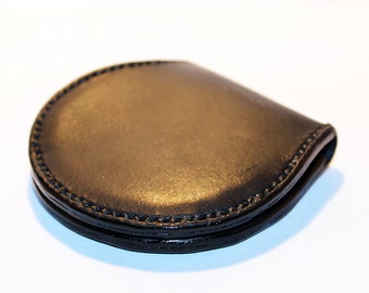Leather coin wallet,black coin wallet, great leather item, black men's wallet, small coin wallet, gift for men, gift for women.