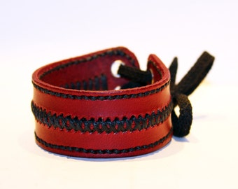 Leather cuff bracelet, red handmade cuff, great bracelet, mens bracelet, womens bracelet, great gift, leather accessories
