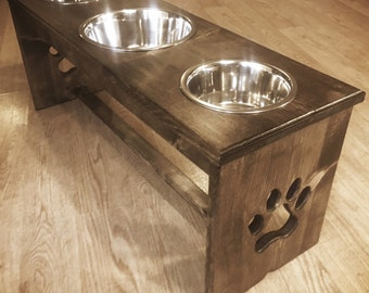 "6""-16"" Raised Dog Feeder with 1Qt/2Qt/1Qt Bowl Configuration - Elevated Feeder Feeding Stand Bowl Holder"