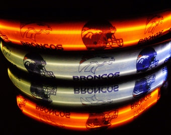 Denver Broncos dog collar w/ LED lights for superbowl foot ball team w/ flashing, blinking, glowing in dark