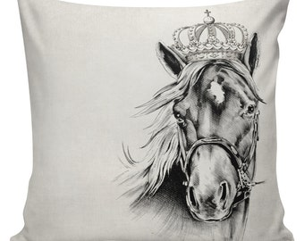 SHIPS TODAY! Horse Pillow Cover Cotton Canvas Throw Pillow 18 inch square  #UE0140