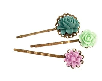 Mint & Lilac Floral Vintage Style Bobby Pins | Set Of 3