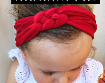 Solid red sailors knot headband