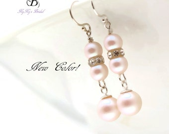 Bridal Earrings, White Pearl Earrings, Bridal Jewelry, Pearl and Crystal Earrings, Wedding Jewelry, Prom Jewelry, Dangle Earrings