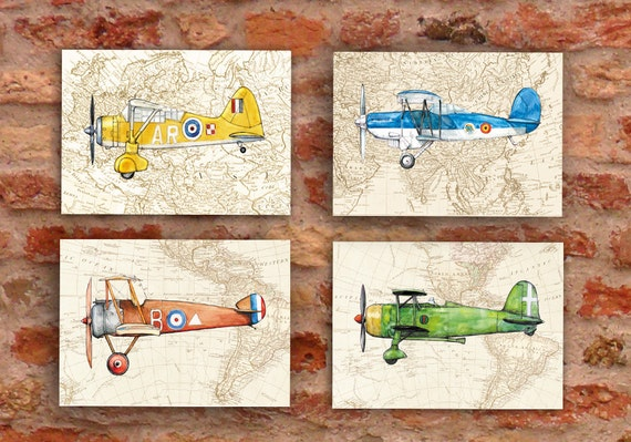 Airplane on vintage world map Set FOUR prints vintage style Prop aircrafts Retro airplane decor Boy's nursery wall art Transportation poster