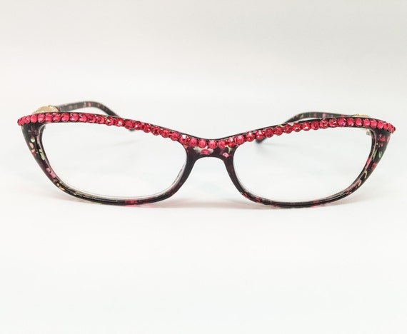 indian pink reading glasses with bling