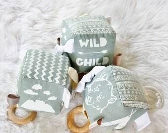 Organic Wild Child Grey White Soft Baby Activity Rattle Teether Block Handprinted / Unisex Baby Toy / Gray / Cube