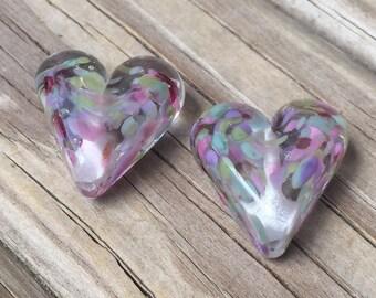 CLEARANCE Focal hearts  - artisan made lampwork glass beads (2 beads)