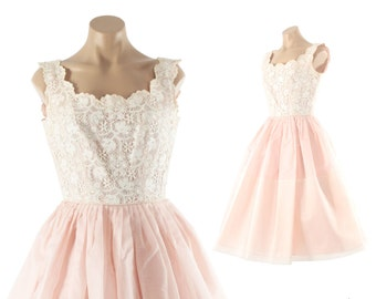 Vintage 50s Lace Party Dress Full Skirt Sleeveless White Bodice Pink Chiffon 1950s 1960s Small S Medium M Rockabilly Pinup