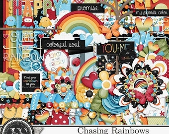 On Sale 50% Off Chasing Rainbows  Digital Scrapbooking Kit, Elements and Embellishments