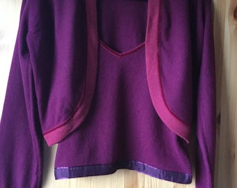 Vintage cherry red Pringle of Scotland cashmere 2  items top set top bolero made in Scotland size L US14 UK 16