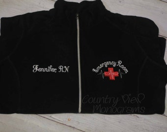 Emergency Room ER Nurse Fleece Jacket with Name on Right chest -RN LPN zipup light Or Heavy weight fleece jacket with several color options
