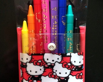 ON SALE! 1990 Hello Kitty Sanrio Markers with Case