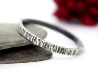 Sterling Silver Hammered Stacking Ring, Silver Stacking Ring, Simple Ring, Rustic Silver Ring, Engagement Ring