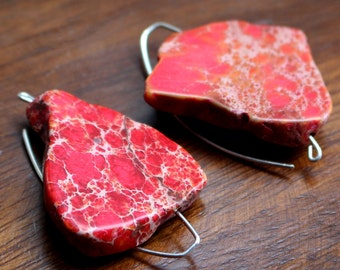 Big Red Howlite Slices on Silver