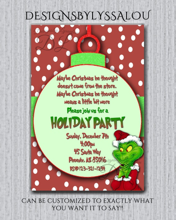 Mr Grinch holiday party invite