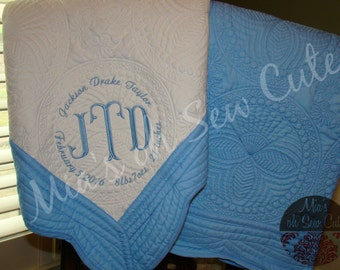 Monogrammed Baby Quilt~Heirloom Baby Quilt~Keepsake Baby Quilt~Birth Announcement Quilt~Personalized Baby Blanket