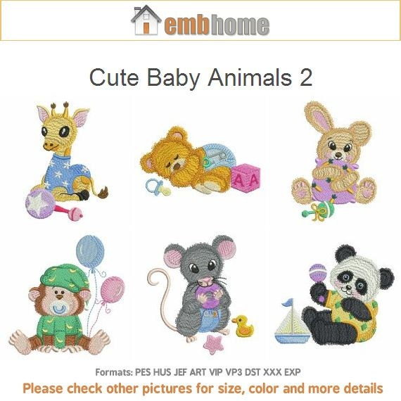 Cute baby animals machine embroidery designs pack instant
