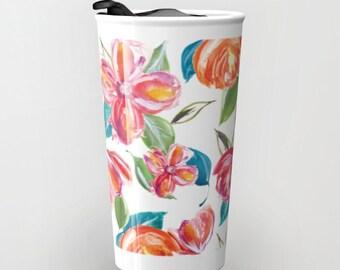 Tropical Flowers Travel Mug - Flowers Travel Mug - Floral Coffee Travel Mug - Ceramic Travel Mug With Lid - Girlfriend Gift - Boyfriend Gift