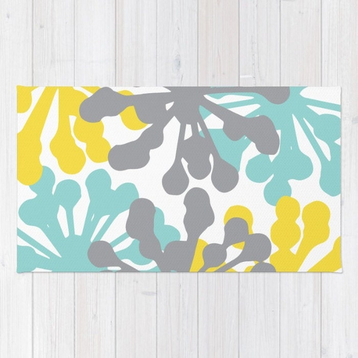 Floral Rug Blue Yellow Grey Area Rug Modern Dandelion