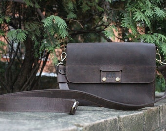 Leather bag, small shoulder bag, mens bag, leather clutch, shoulder bag, Karman Brown