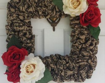 Burlap Rose Wreath, Burlap Wreath, Flower Wreath