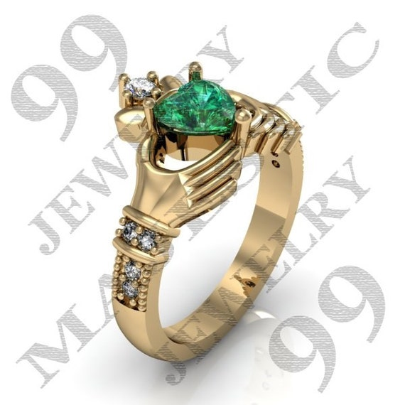 claddagh ring 14k yellow gold emerald cz by majesticjewelry99