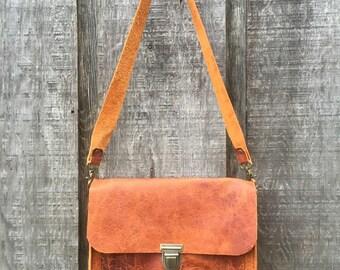 Leather messenger bag , satchel , laptop bag