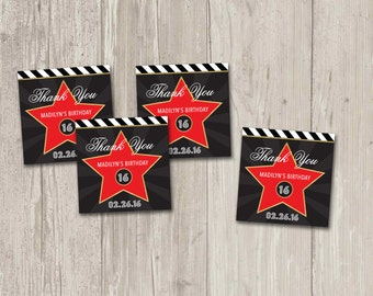 Hollywood Star Favor Tags, Walk of Fame Thank You Tags   Printable