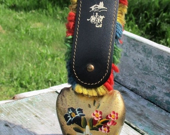 Vintage Authentic Swiss Cowbell Suen Rustic Bell Strap hand Painted Flowers