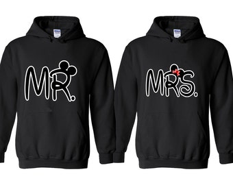 NEW MR MRS Couple Hoodie Mouse Ears Buckle Best Mr Mrs Couple Sweatshirt Hoodies