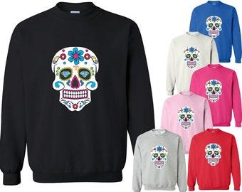 Sugar Skull CREWNECK Sweatshirt Day of the Dead Mexican Celebration Crewneck Sweatshirt Calavera Dia de los muertos Skull Sweatshirt Skull