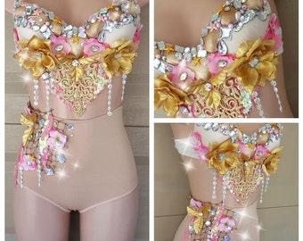 Gold Mermaid ,  High Waist Bottom, Mermaid Costume, Seashell, Seashell Bra, Little Mermaid, Gold Mermaid, Pink Mermaid, Halloween