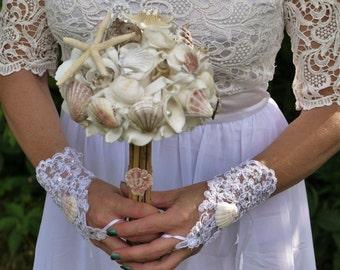 fingerless lace bride gloves, bridal gloves, lave bride gloves, beach wedding bride gloves, seashell lace fingerless bridal gloves