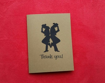 Set of 10 Cow Boy and Cow Girl Thank You Card-Wedding Thank You Card-Theme Party