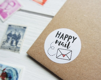 40 Happy Mail Stickers Happy Post Letter Small Envelope Seals 32mm / Stationery / 217