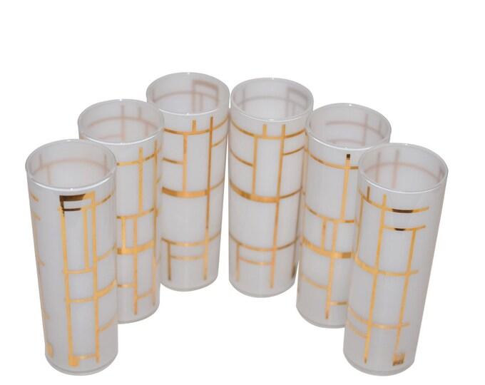Vintage Estate White Gold Geometric Collins Glass Set