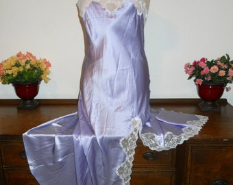 Vintage Patricia Fieldwalker Adagio Collection Lilac 100% Silk Lavish Lace Nightgown XL