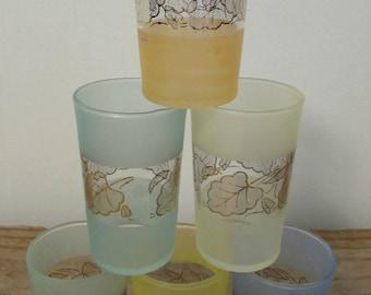 Juice Glasses, Pastels, Gold Leaf Design, Set of Six, 1960's