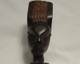 African Art, Hand Carved Wood Bust, 1970's
