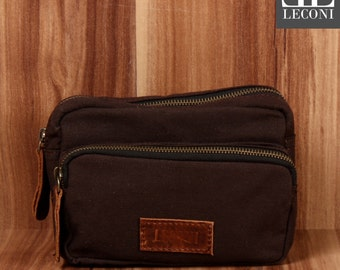 LECONI belt bag Fanny Pack waist bag leather of canvas Mocha LE3037-C