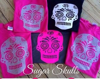 Monogram Vinyl Sugar Skull Shirt, initials, glitter, vinyl, skull, sugar skull, preppy