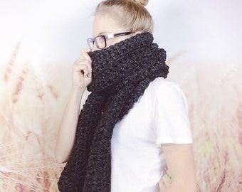 Extra Long Scarf, Crochet Scarf, Winter Scarf, Chunky Scarf, Womens Scarf, Grey Scarf, Open Ended Scarf, Classic Scarf - {CHARCOAL}