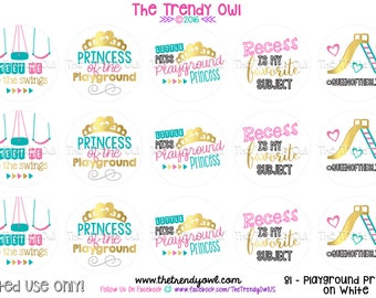 """Back To School - Playground Princess on white - Digital Bottle Cap Images - INSTANT DOWNLOAD - 1"""" Bottle Cap Images 4x6 - 81"""