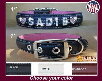 Rhinestone Dog Collars - Luxury Dog Collars - Personalized Dog Collars with Rhinestones  Name - Leather Dog Collars Made in USA