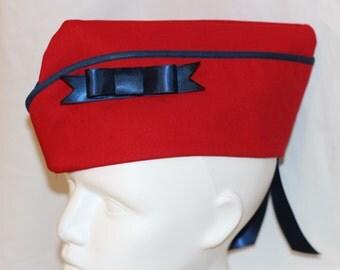 Army Hat - Military Cap - Wedge Cap - Vintage Style Hat - Pin Up Hat - Pinup Cap - Flight Hat - Garrison Cap - Red Sailor Hat - Nautical Cap