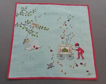 Singing in the Park - Vintage 1950s Novelty Cotton Hankie Handkerchief