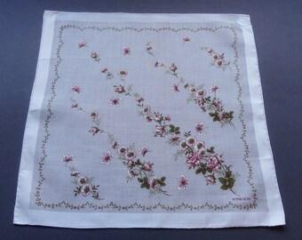 Swiss Kreier Vintage Unused Flowers & Butterflies Cotton Hankie Handkerchief with Tag